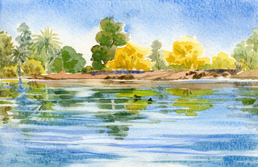 Silverbell Lake - watercolor painting by Ellen A. Fountain