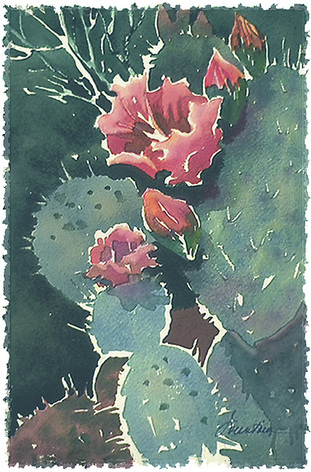 Blue Opuntia, digital painting on paper by Ellen A. Fountain