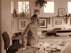 Tucson Arizona Watercolor and Digital Artist Ellen A. Fountain in her studio
